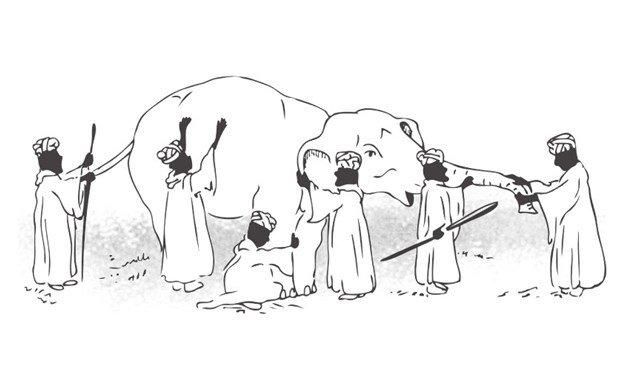 Hombres ciegos y elefante